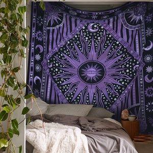 Purple Sun Twin Size Boho Tapestry NEW